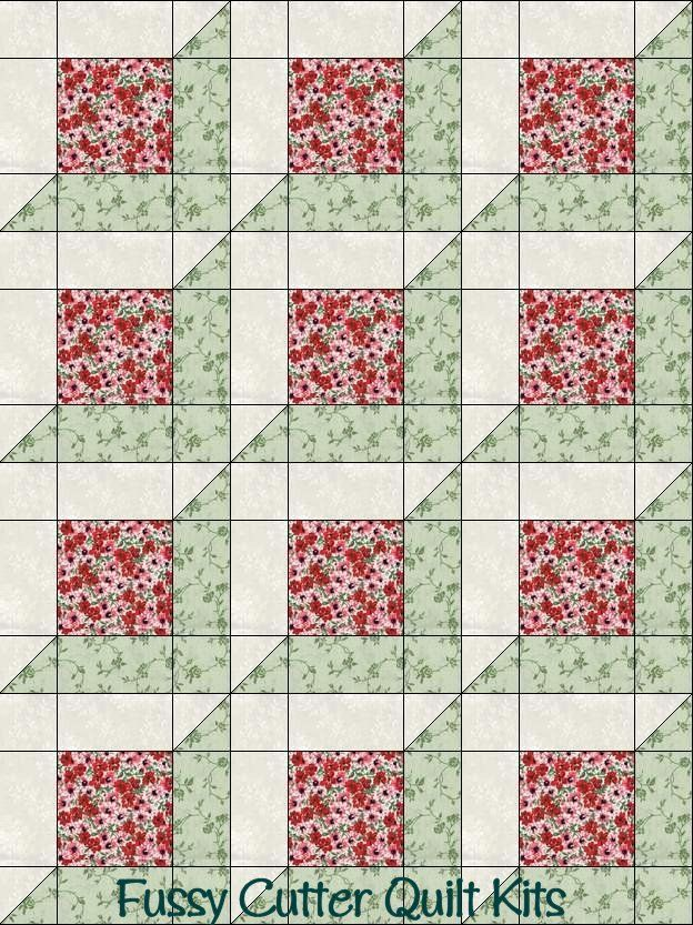 Red Sage Green Flowers Floral Fabric Fast Easy Beginner Patchwork ... : pre cut quilt patterns - Adamdwight.com