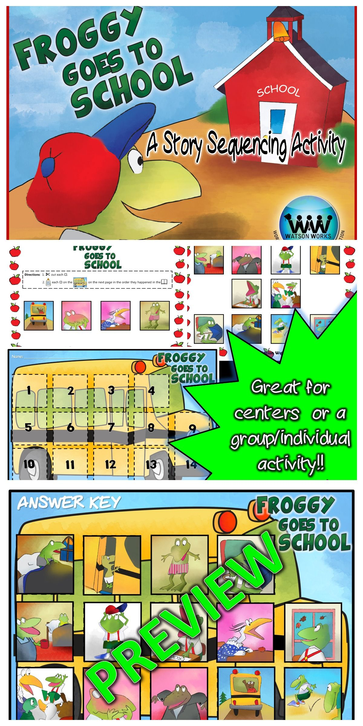 Froggy Goes To School A Story Sequencing Activity
