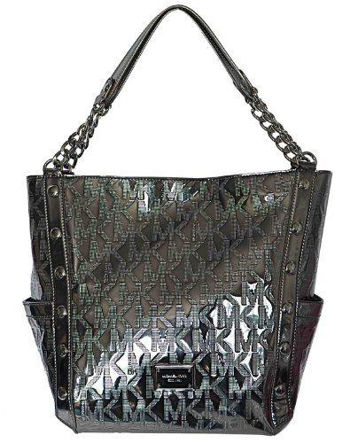 Michael Kors Nickel Mk Mirror Metallic Signature Delancy Large Shoulder Bag Tote Handbag Purse