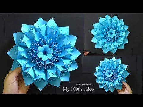 Origami Paper Flower tutorial, Giant paper flower, 100th video ���