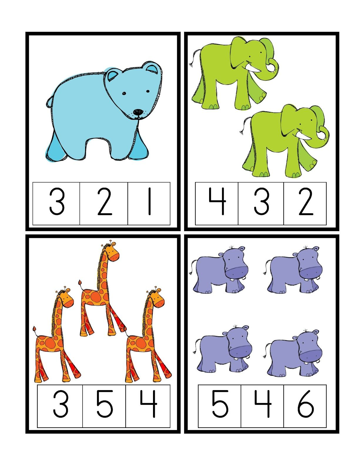 Zoo Numeric Cards Tarjetas Numericas De Animales