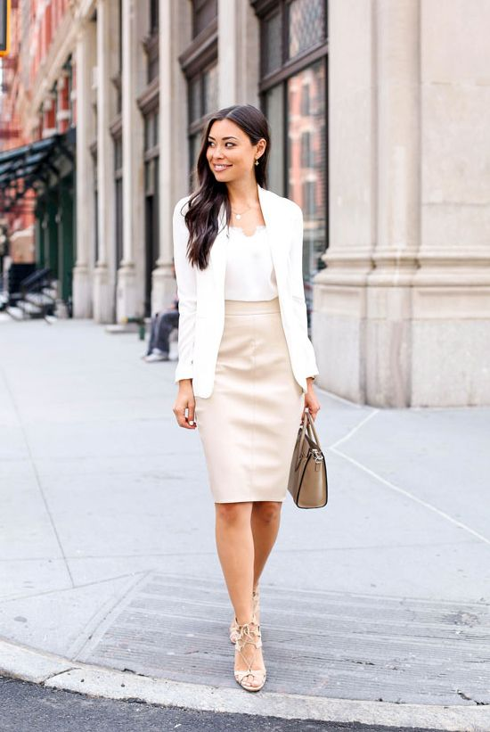 b9fa51f62d35 spring   summer - street style - street chic style - summer outfits -  business casual - work outfits - office wear - white blazer + white lace  cami top + ...