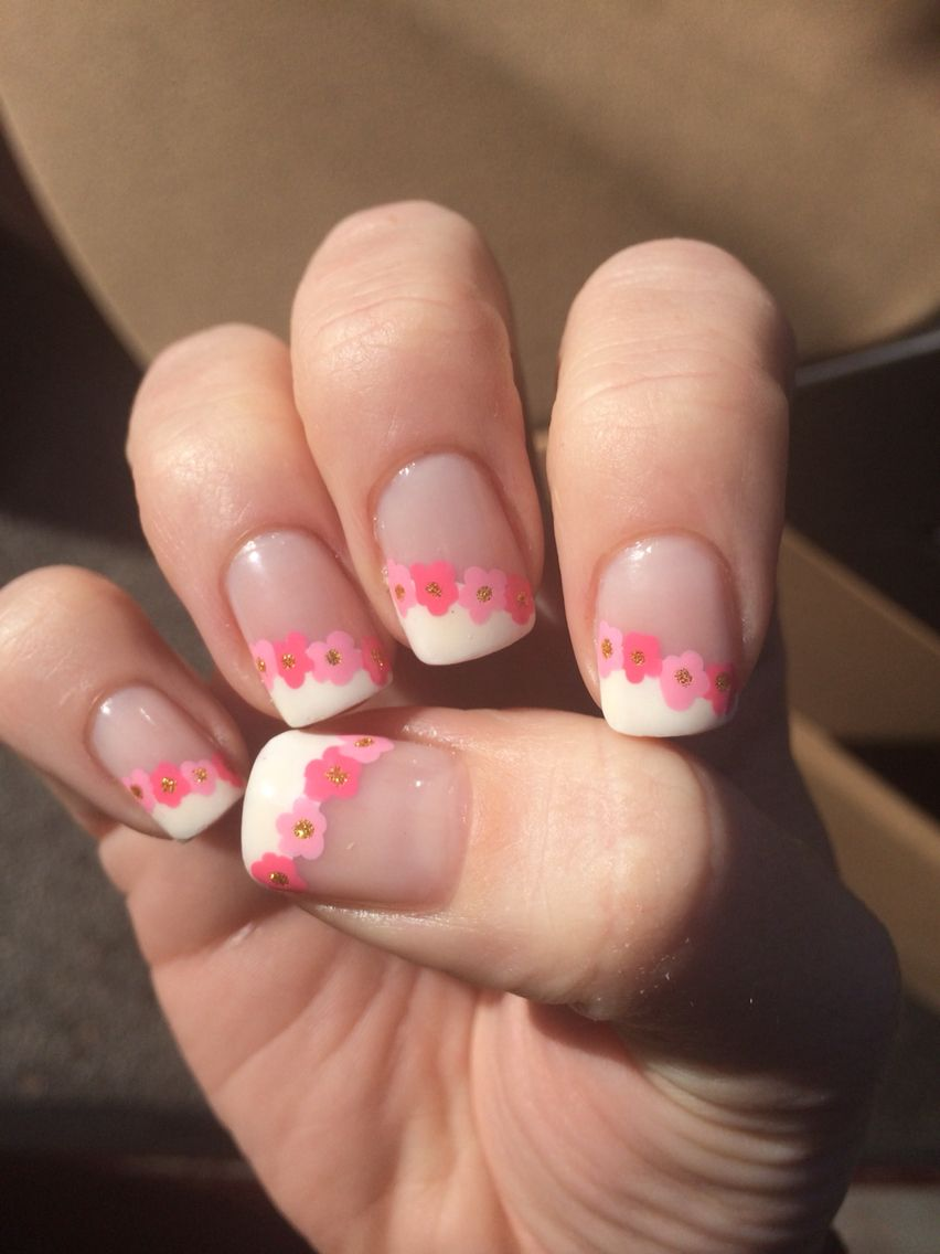 A twist on french manicure. Used tape for the lines and