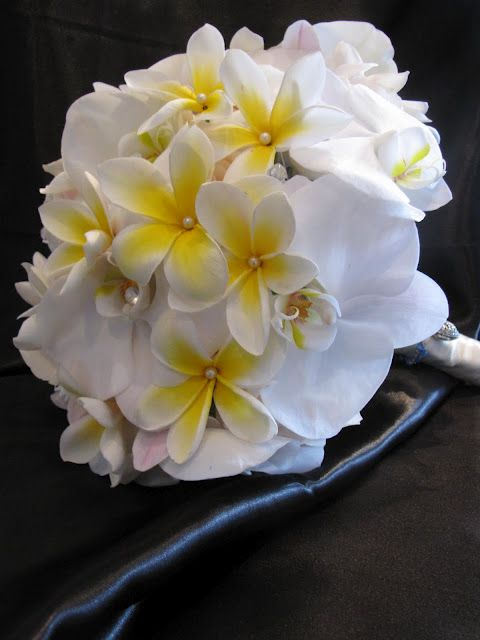 White Plumeria And White Orchids Bouquet Beach Wedding Bouquets