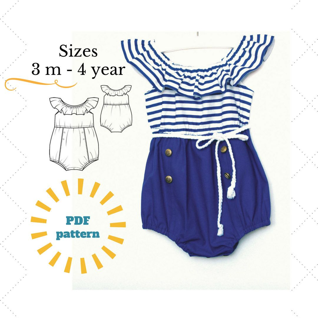 Baby Romper PDF, Bubble Romper PDF Pattern , Baby Sunsuit Pattern ...
