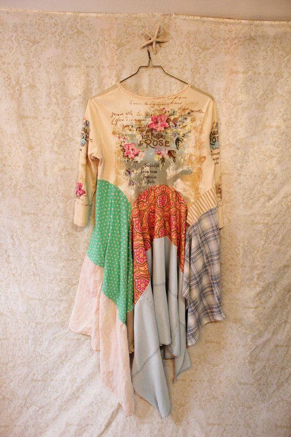 Boho Knit Tunic, Romantic Shabby Chic, Junk Gypsy Style, Mori Girl, Lagenlook