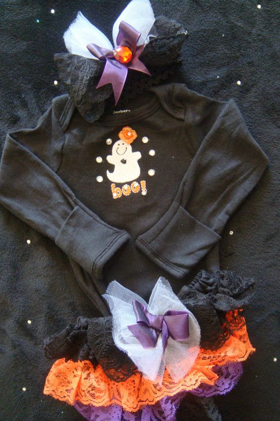 NEWBORN BABY girl HALLOWEEN outfit - costume, onesie, bloomers and headband - purple, orange and black
