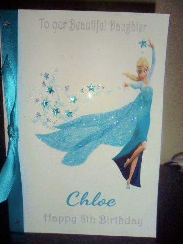 Handmade Personalised A5 Disney Princess Elsa From Frozen Birthday Card Frozen Birthday Cards Girl Birthday Cards Birthday Cards
