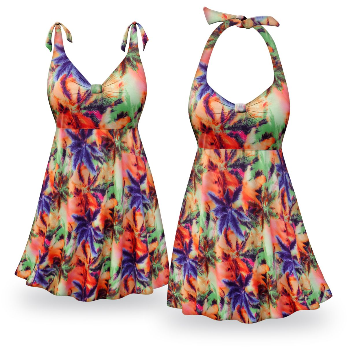 6137f38ebb556 Customizable Palm Sunset Print Halter or Shoulder Strap 2pc Plus Size  Swimsuit SwimDress