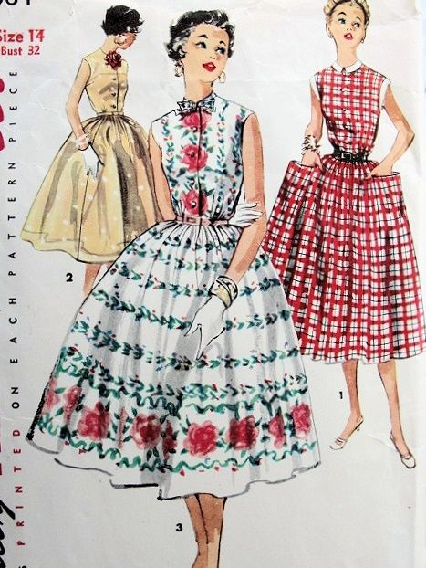 1950s Pretty Dress Pattern SIMPLICITY 1084 Three Style Versions Easy ...