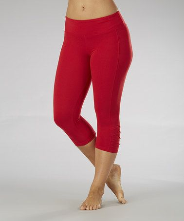 52dfd8af743b2 Look what I found on #zulily! Chili Pepper Pleated Crop Leggings - Women # zulilyfinds