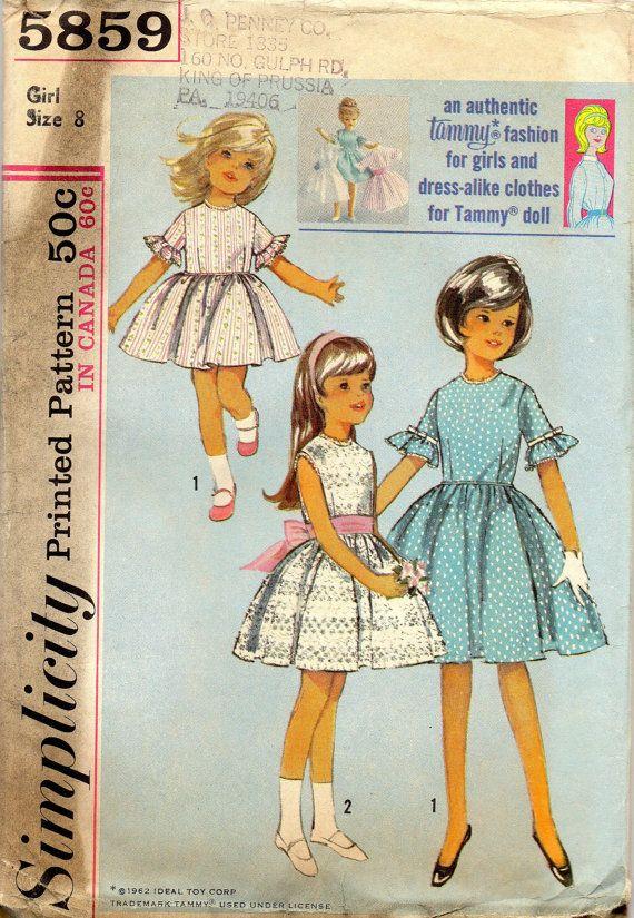 vintage 1964 girls DRESS simplicity sewing pattern 5859 size 8 matching TAMMY doll pattern retro mod SASH. via Etsy.