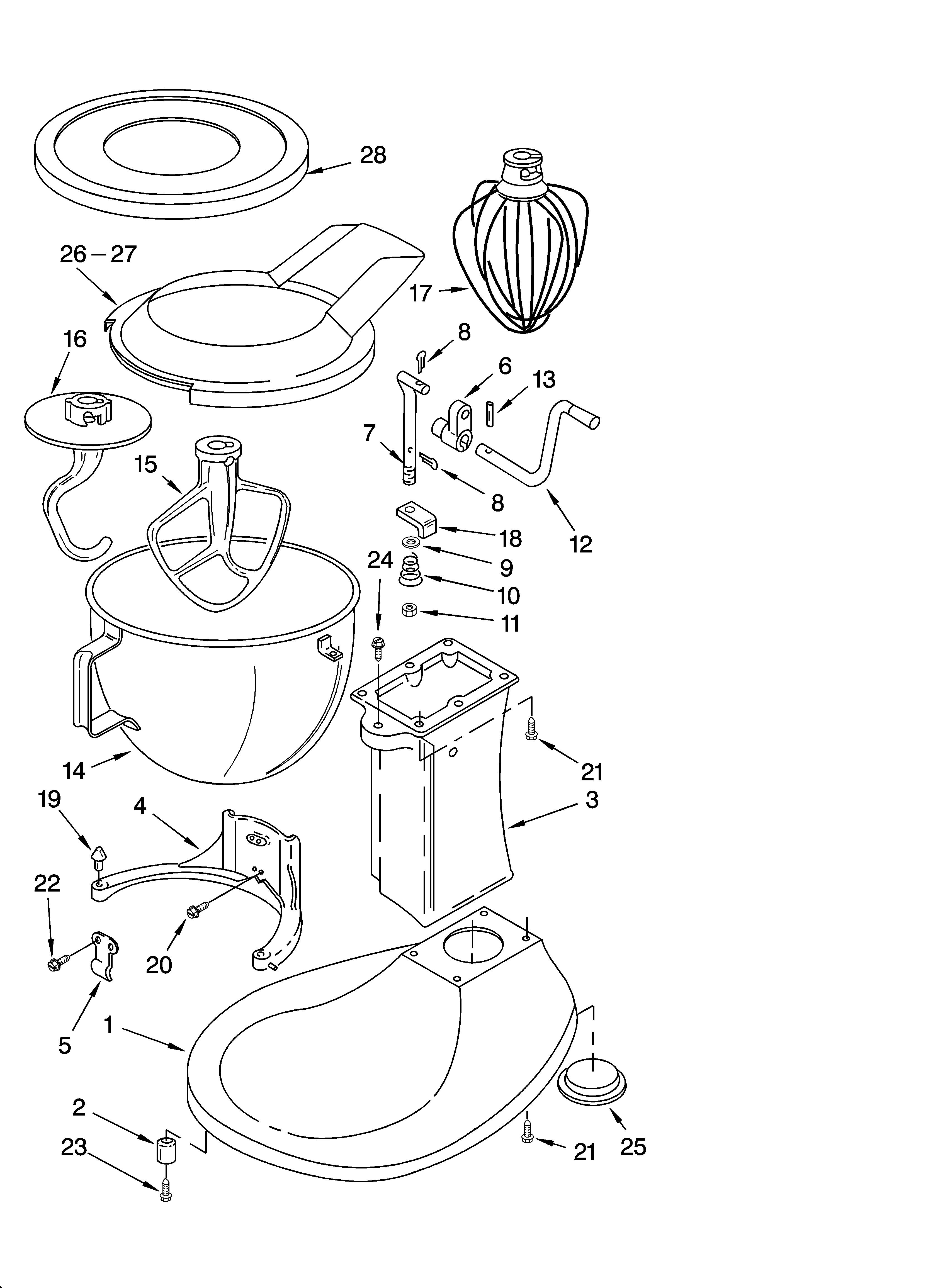base and pedestal unit diagram parts list for model k5ss kitchenaid parts mixer  [ 3348 x 4623 Pixel ]