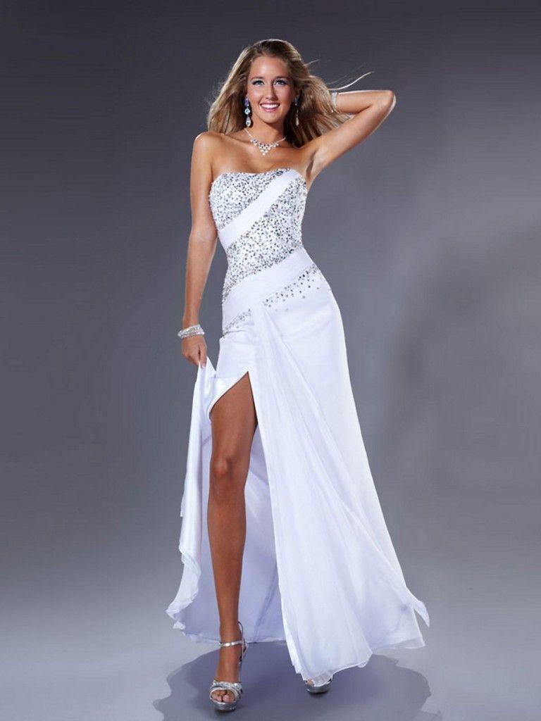 Strapless White Prom Dress