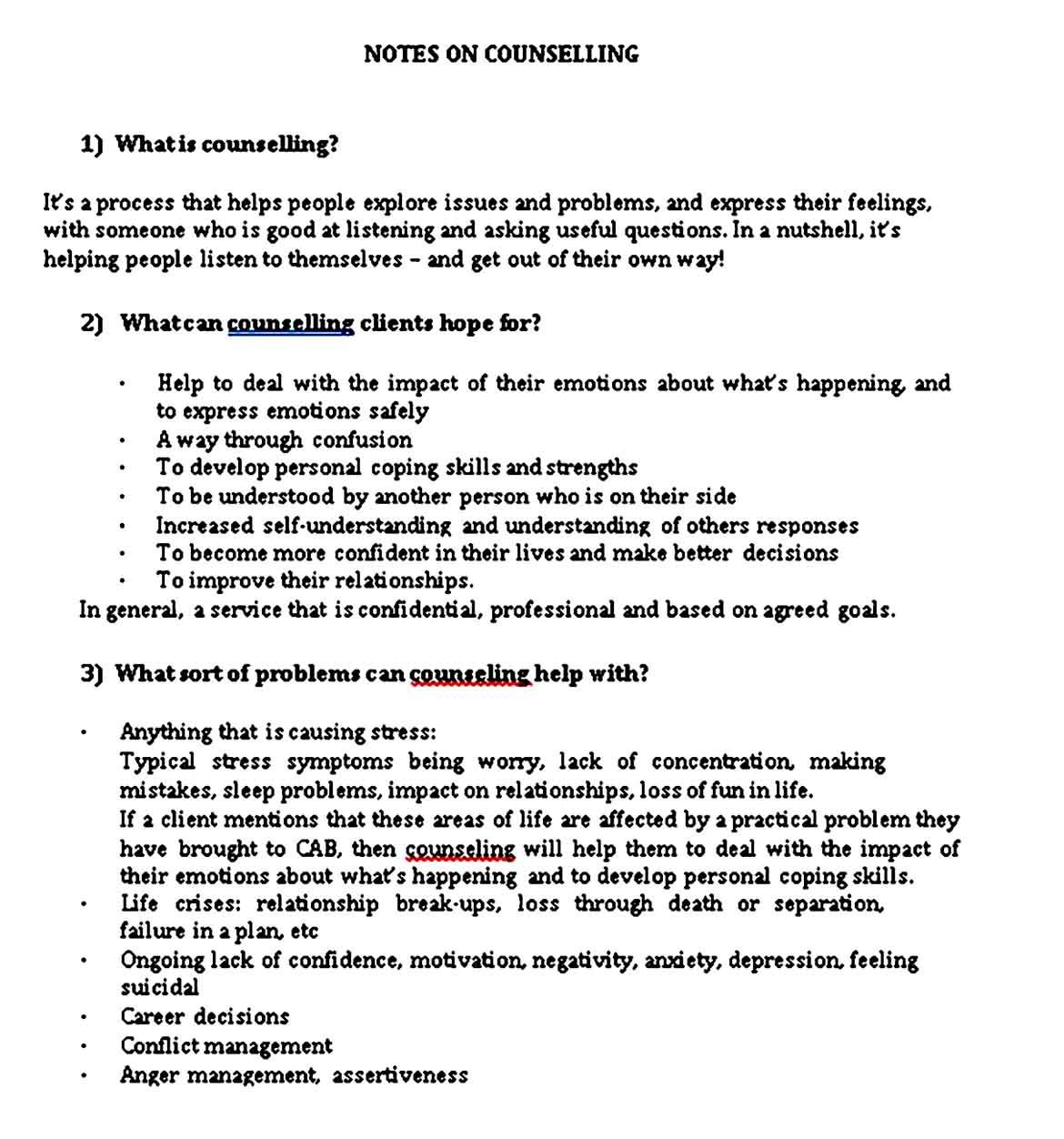 Counseling note sample templates di 2020