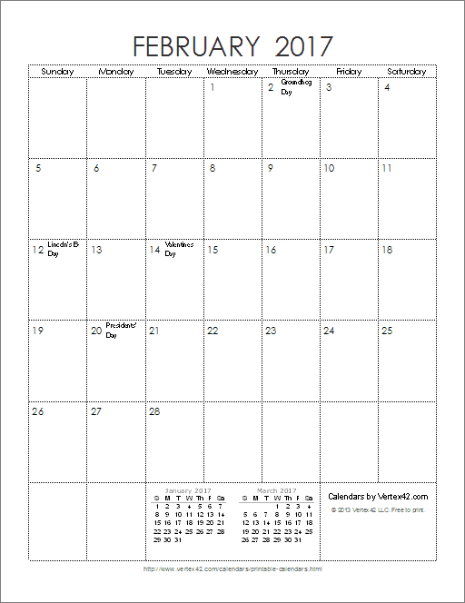 2017 monthly calendar template with holidays