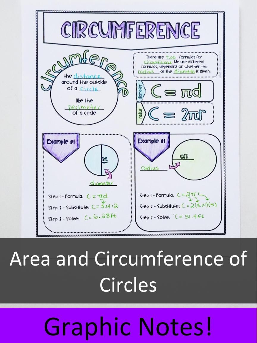 Area Of Circles And Circumference Notes With Images Middle