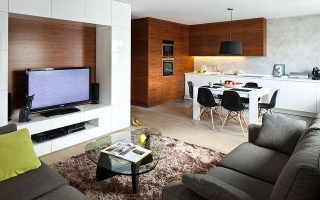 dekovorschläge für wohnzimmer-essbereich-kuechenzeile-wohnwand-holz ...