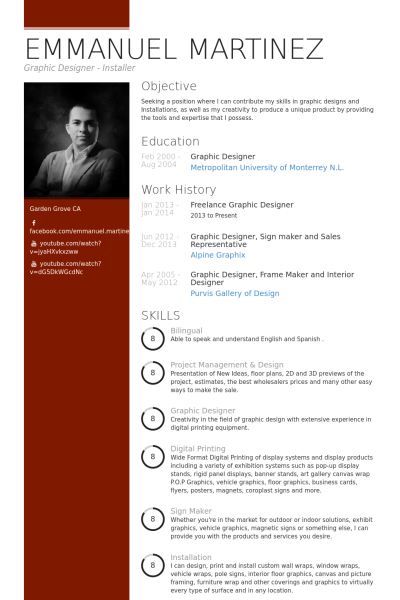 freelance graphic designer Resume Example  cv  Graphic design resume Resume Design Graphic