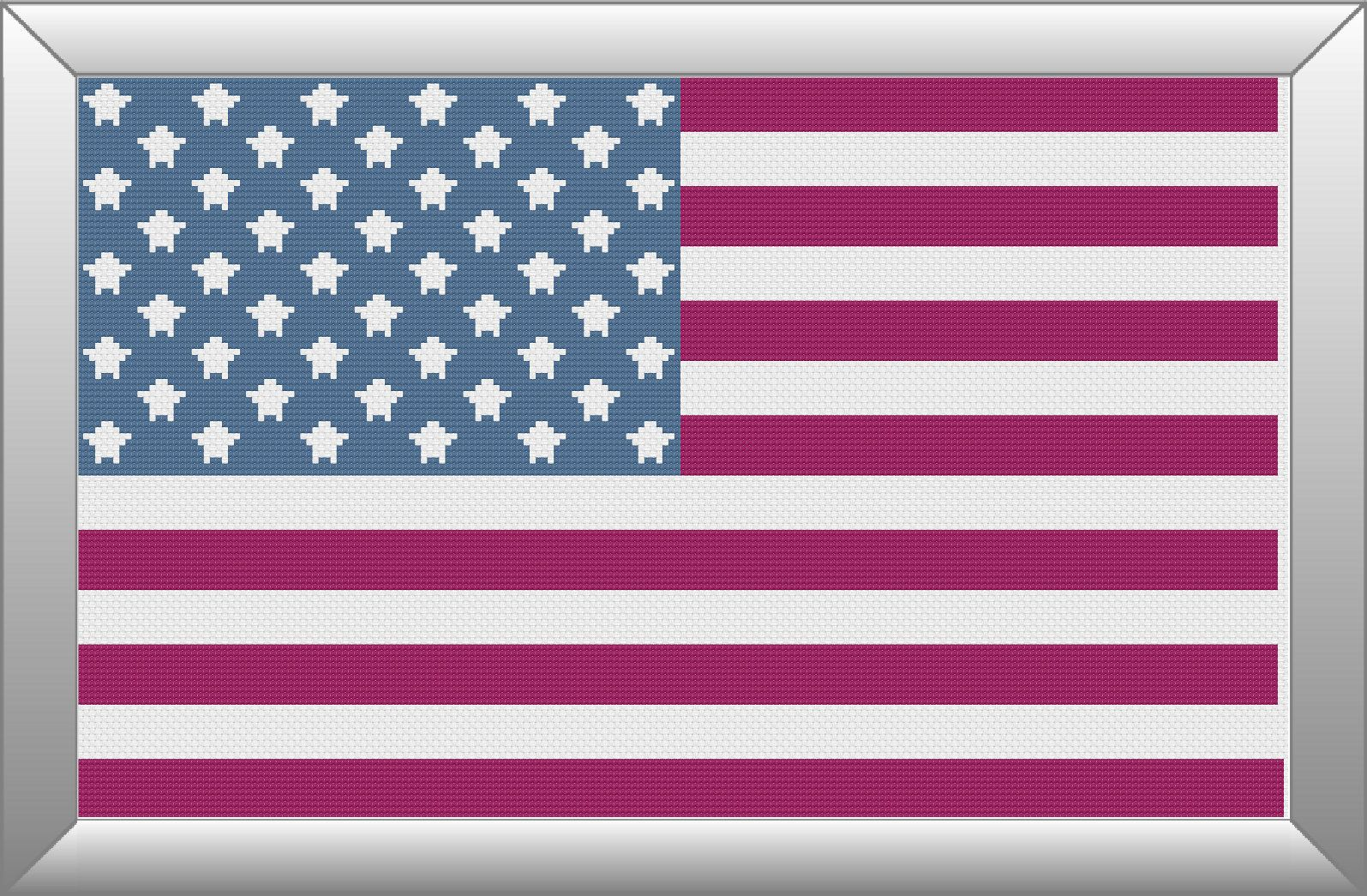 American Stars Stripes Flag Pattern Chart For Cross Stitch Or Embroidery Use With Dmc Floss Or Other Thread Pdf Dig Needlepoint Designs Cross Stitch Pattern
