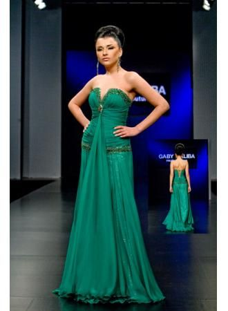 $159 Wholesale 2012 Sexy Strapless V Neck Beading Green Chiffon Sequins Evening Dresses from 27dresses