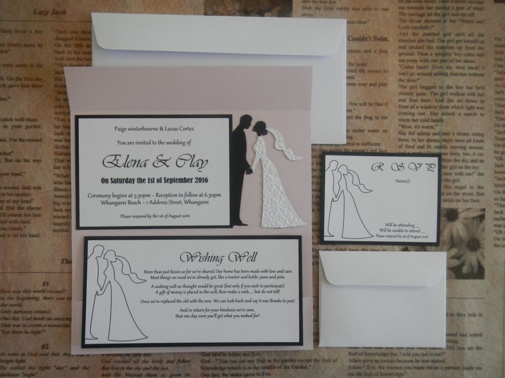 Bride Groom Dle Size Wedding Invitation With Wishing Well Rsvp