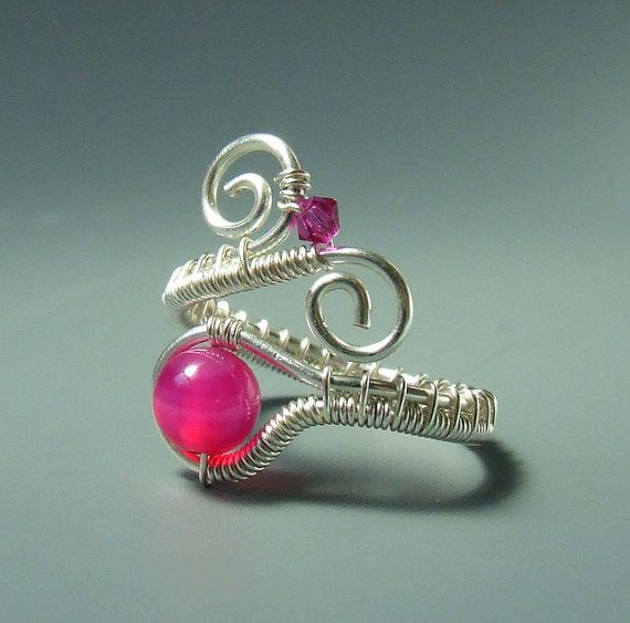 Pink agate ring stone silver plated wire wrapped by VeraNasfa ...