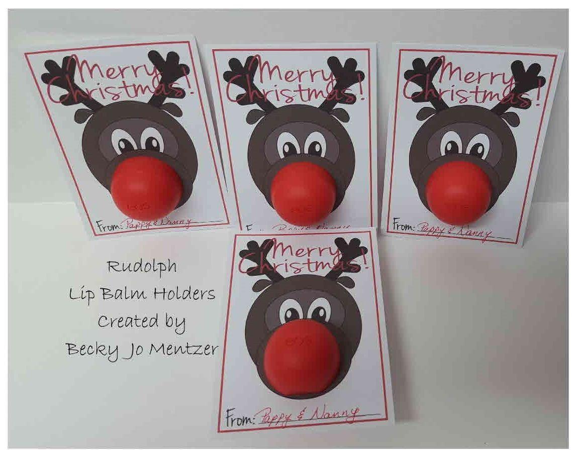 Rudolph Lip Balm Free printable found on this blog: http://www.triedandtrueblog.com/rudolph-christmas-gift-free-printable/ http://thecraftingchicks.com/rudolph-christmas-giftbloggers-best-12-days-of-christmas/