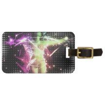 Bikini girl on starfield background tag for luggage