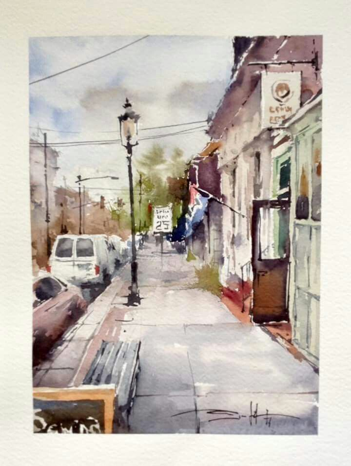 Michael Solovyev Old Newtown Watercolor On Fabriano Paper 11x15