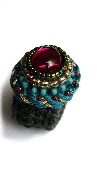 Häkelring Mit Glas Cabochon Von Crochetjewels Etsyshop