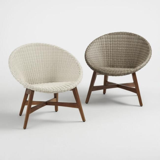 Round All Weather Wicker Vernazza Outdoor Chairs Set of 2 – v1