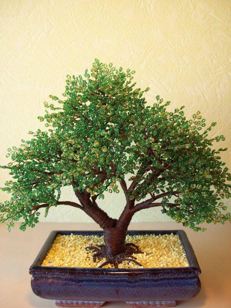 Beaded bonsai tree for grandma 39 s new zen fairy garden that for Unusual bonsai creations