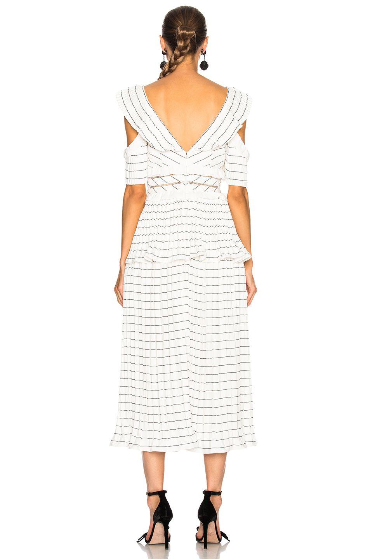 36bf4186a51a Image 4 of self-portrait Monochrome Stripe Midi Dress Black & White ...