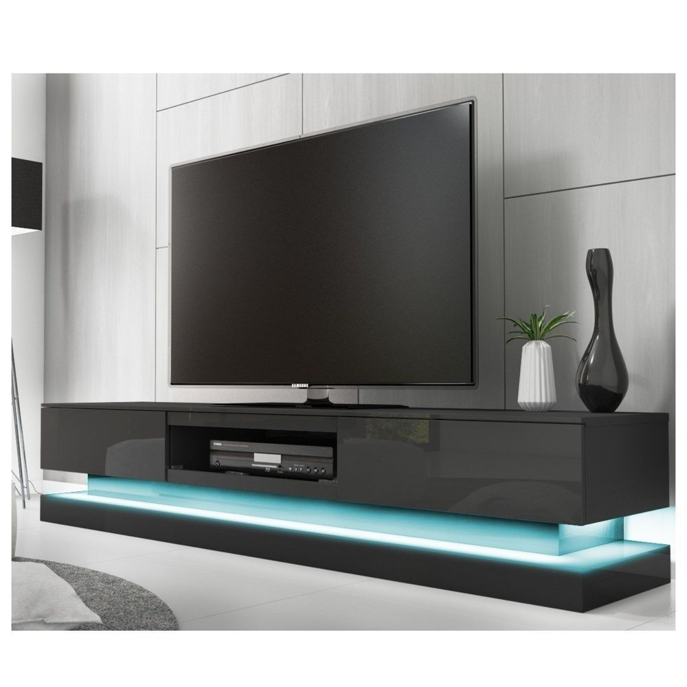 Black High Gloss Television Stand Tv Furniture Shelves Unit