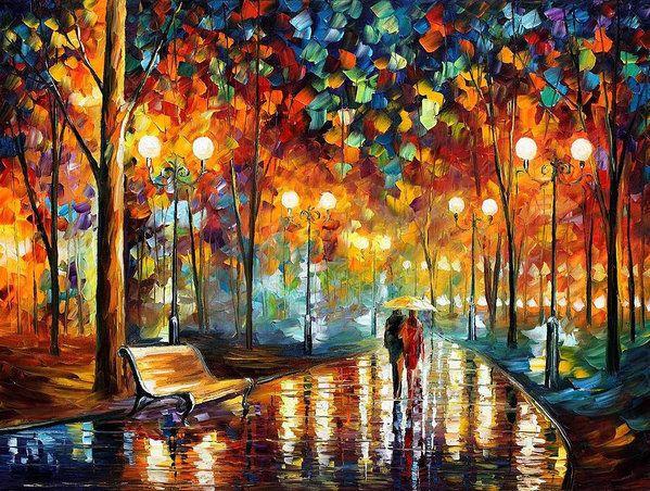 Leonid Afremov Print featuring the painting Rain's Rustle 2 - Palette Knife Oil Painting On Canvas By Leonid Afremov by Leonid Afremov