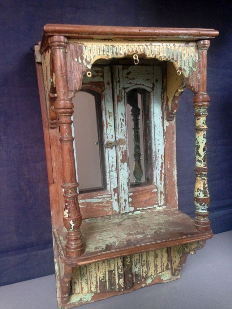 Antique vintage indian wooden wallhanging home shrine