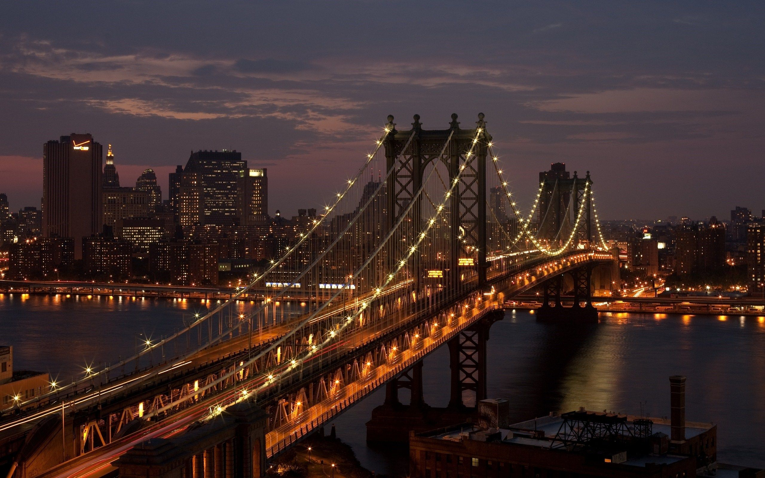 Hudson River Manhattan Bridge New York City Usa Night Hd Wallpaper New York Bridge Brooklyn Bridge New York Manhattan Bridge
