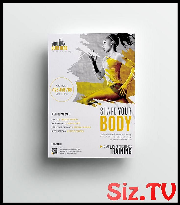 Fitness Club Professional Flyer Design Template 001511,  #Club #Design #fitness #Fitnessdesign #Flye...