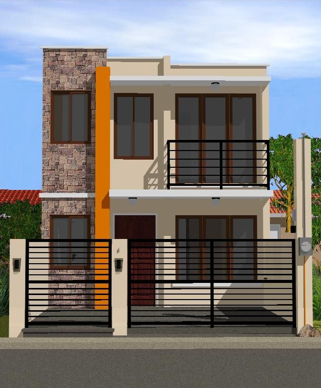 2 Storey Minimalist Exterior Narrow House Designs Philippines House Design Two Story House Design