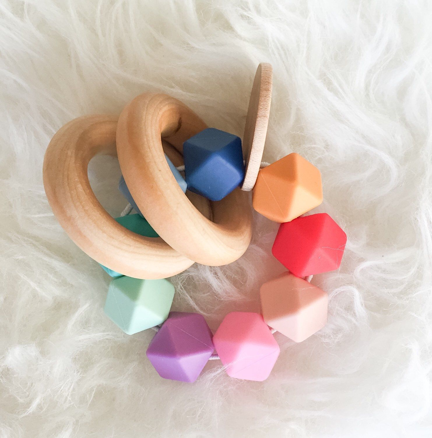 Baby Teething Toy Wooden Teether Rainbow Teether Silicone Bead