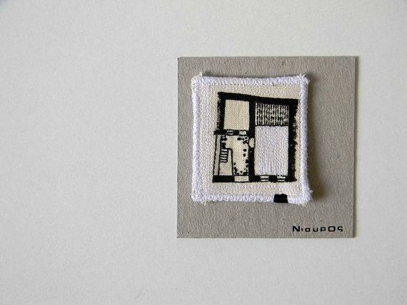 Embroidery Brooch Square Black And White Textile by polykatoikia