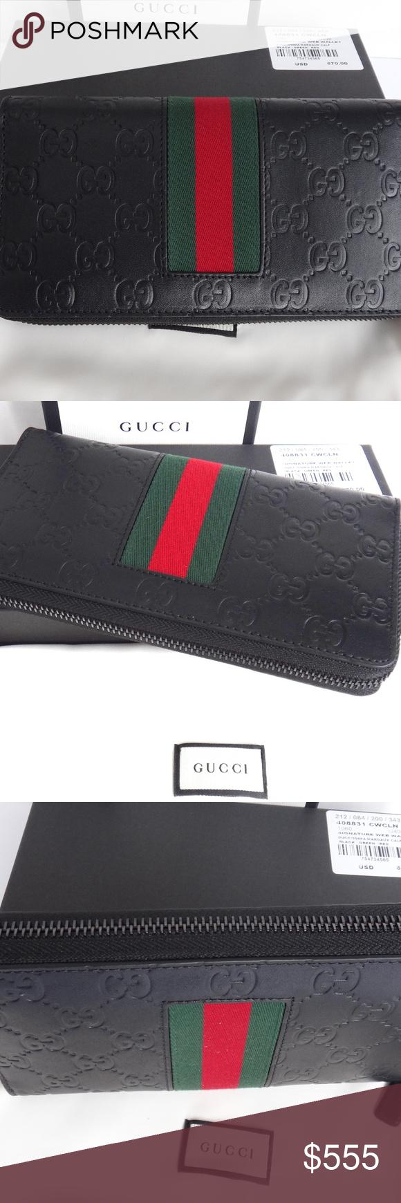 a30a582a4ec Black Leather Gucci Signature Web zip around Long Authentic Mens Black  Gucci signature zip around Long Wallet - Green and Red web - Black leather  trims 12 ...