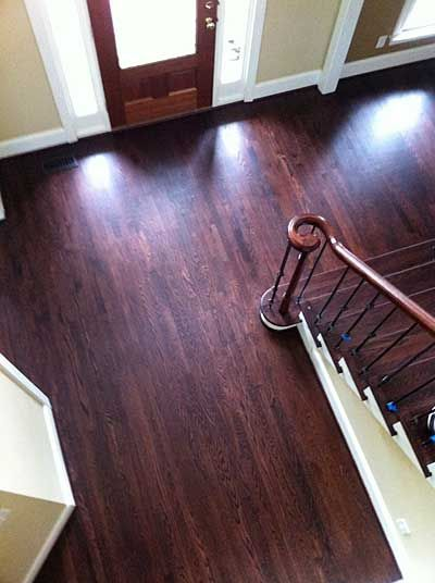 Mahogany Wood Color Stain ~ Red oak with grain popped duraseal royal mahogany stain