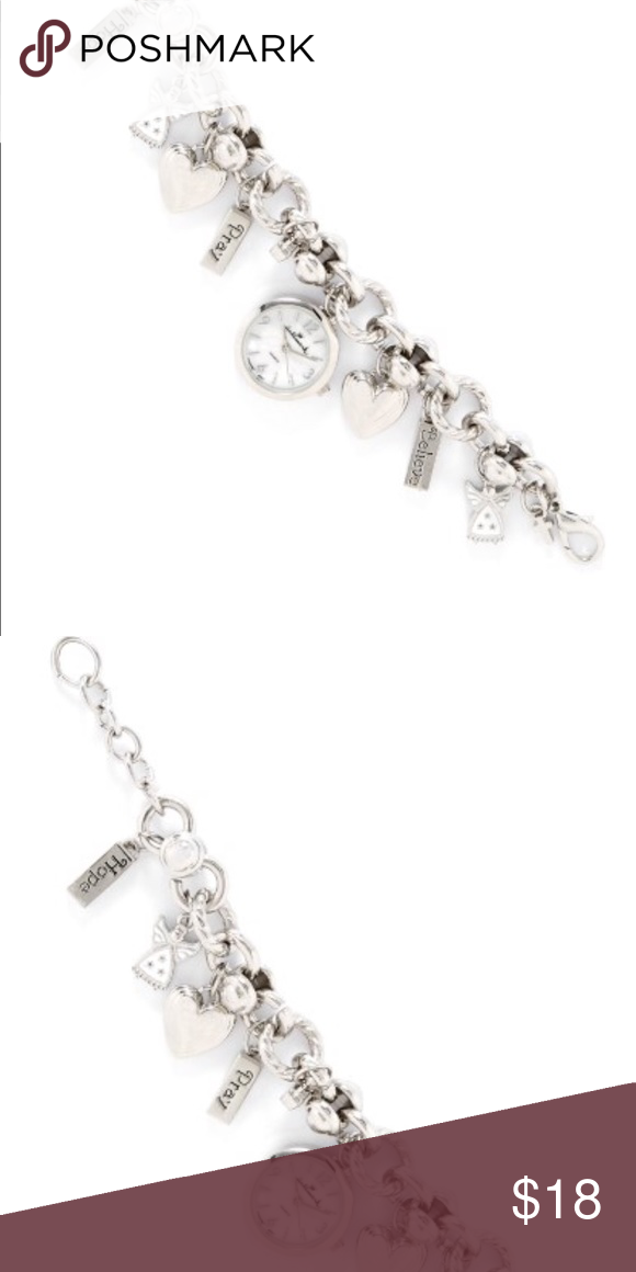 Hallmark Angel / inspirational charm wrist watch Description This watch offers charming style by Hallmark. Hallmark watch featuresa chain link design accented with heart charms, angel charms, cross charms & charms that state Pray, Believe & Hope. Watch has a jewelry clasp closure. 8 in. in length with a 1 in. dial.  *used in good condition 💕 Accessories Watches