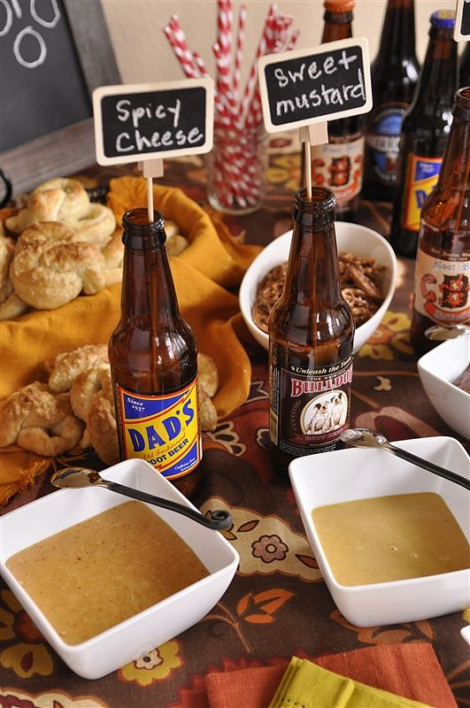 Pretzel Dipping Sauces and Football Party Ideas