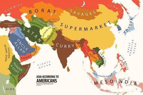 Le mappe degli stereotipi culturali realizzate da alphadesigner asia according to usa gumiabroncs Images