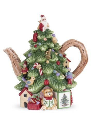 Spode Holiday Christmas Tree Shaped Teapot Table Decoration Tea