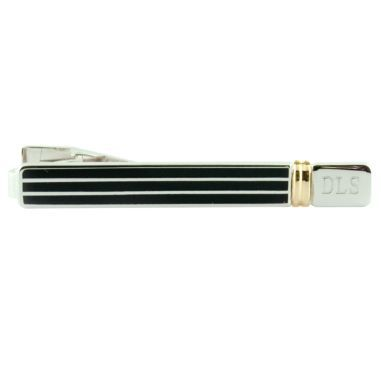 Engravable Black Silver & Gold Tie Bar  found at @JCPenney