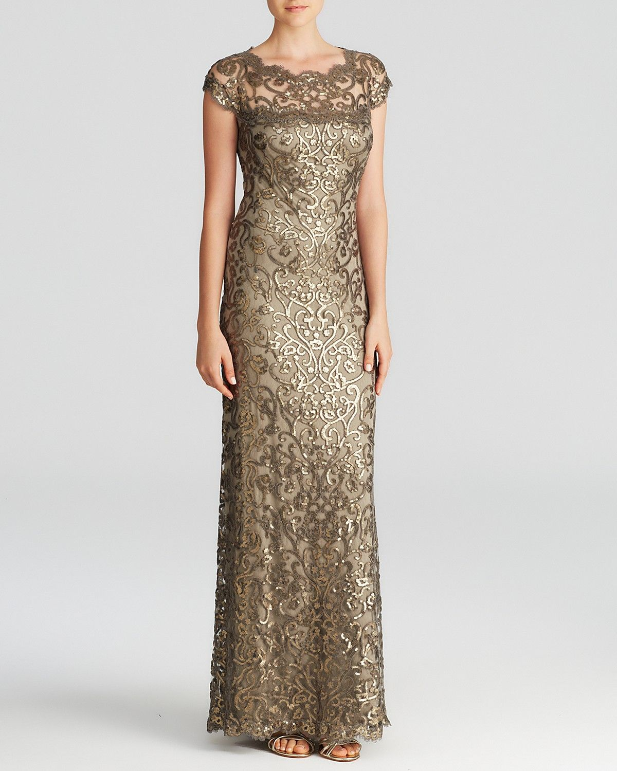 Tadashi Shoji Gown - Cap Sleeve Illusion Sequin | Bloomingdale's